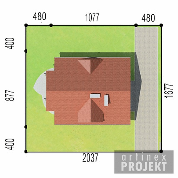 Działka projektu D42 - Błażej wersja drewniana