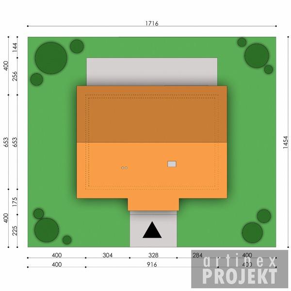 Działka projektu D67 - Paulinka I wersja drewniana
