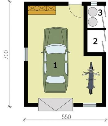 Rzut  projektu G172 garaż jednostanowiskowy