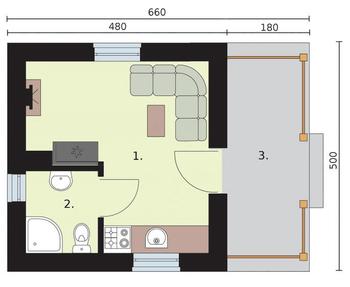 Rzut  projektu AMADORA dom letniskowy