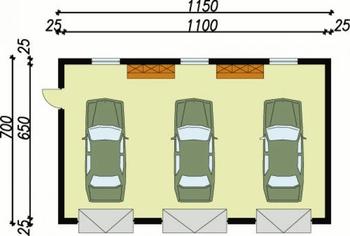Rzut  projektu  G7 garaż trzystanowiskowy