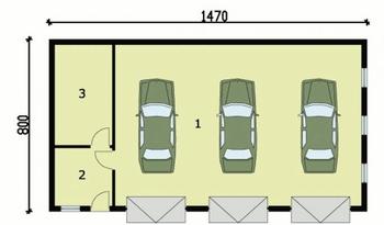 Rzut  projektu G160 garaż trzystanowiskowy z pomieszczeniami gospodarczymi