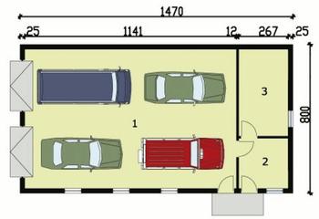 Rzut  projektu G162 garaż czterostanowiskowy z pomieszczeniami gospodarczymi
