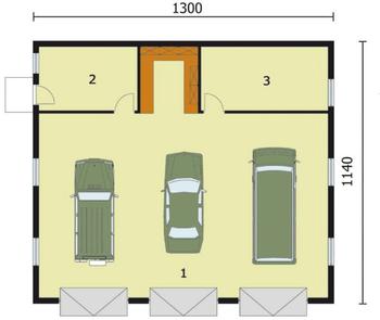 Rzut  projektu G164 garaż trzystanowiskowy z pomieszczeniami gospodarczymi