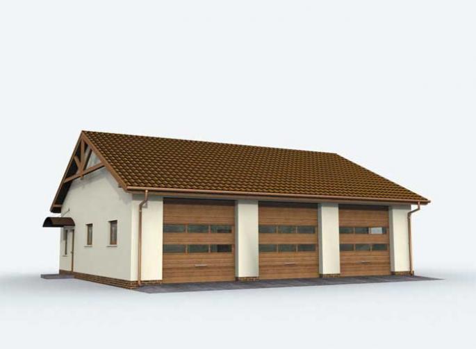 G164 garaż trzystanowiskowy z pomieszczeniami gospodarczymi